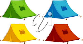 illustration of 4 isolated tents