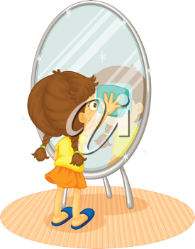 Illustration of a child cleaning a mirror