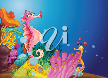 Illustration of two seahorses in love