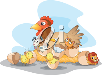 Illustration of hen and other animals