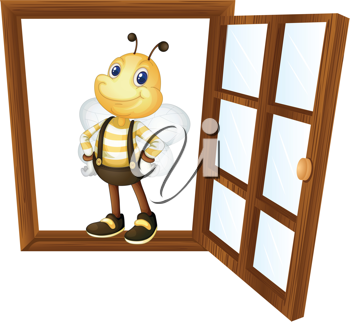 detailed illustration of a bee in a window