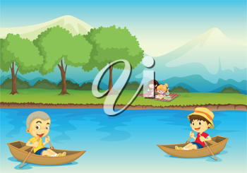 illustration of kids and boat in a beautiful nature