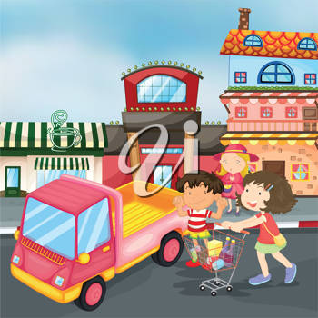 illustration of truck and kids on the road