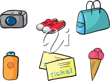 illustration of various holiday objects on a white background