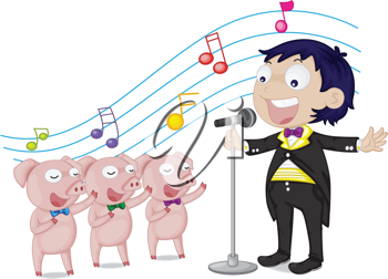 illustration of singing boy and pigs