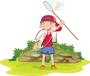 illustration of boy catching butterflies