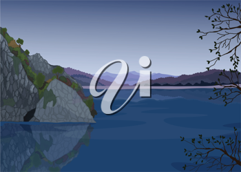 detailed illustration of a beautiful landscape and water