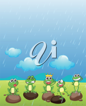 Illustration of a frog prince and his friends