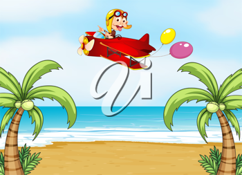 Illustration of a monkey in airplane and  beautiful beach