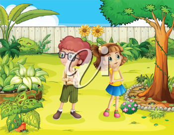 Illustration of a girl and a boy in the backyard