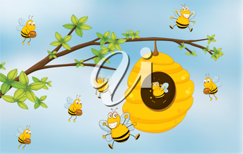 Illustration of a honey bee under a tree