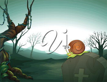 Illustration of a graveyard with a snail
