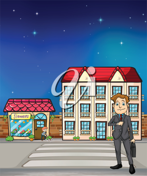 Illustration of a man and flowershop and hotel on the background
