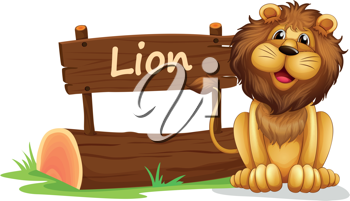 Illustration of a lion near a wooden signage on a white background