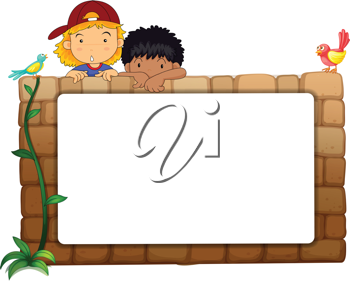 Illustration of kids with white board on wall