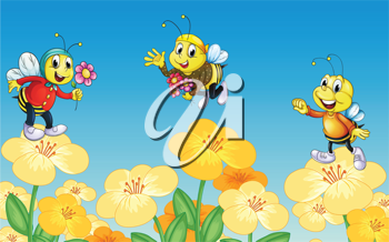 Illustration of bees and flowers in a beautiful nature