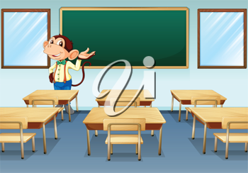Illustration of a monkey teacher discussing in an empty room
