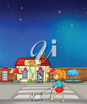 Illustration of a young girl walking with her pet
