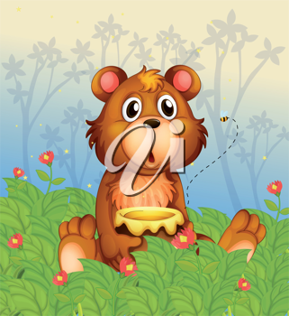 Illustration of a shocking face of a bear in the forest