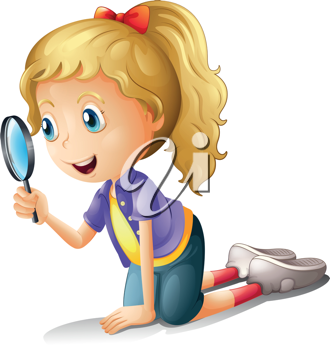 Illustration of a girl and a magnifier on a white background