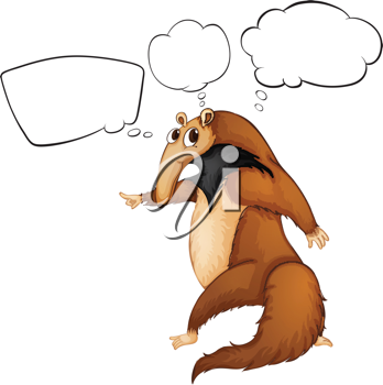 Illustration of a wild animal with an empty thought on a white background