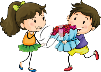 Illustration of a boy giving his girlfriend a bouquet of flowers on a white background