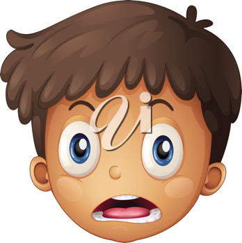 Illustration of a boy face on a white background