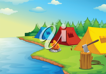 Illustration of camping near a river in the nature