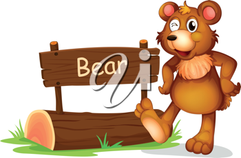 Illustration of a bear beside a sign board on a white background