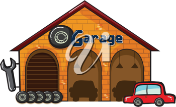 illustration of a garage on a white background