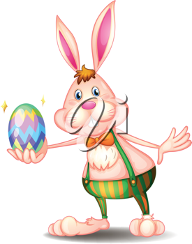 Illustration of a rabbit holding an easter egg on a white background