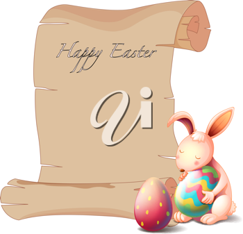 Illustration of a bunny with two Easter eggs on a white background