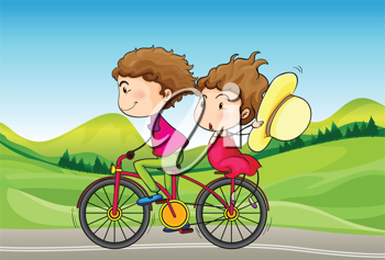 Illustration of a girl and a boy riding in a bike