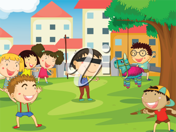 illustration of kids playing games in nature