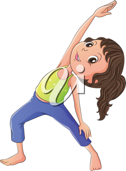 Illustration of a woman doing yoga on a white background