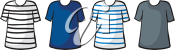 Illustration of t-shirts on a white background