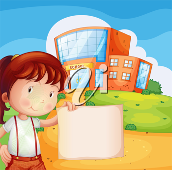Illustration of a kid in front of a school with an empty paper