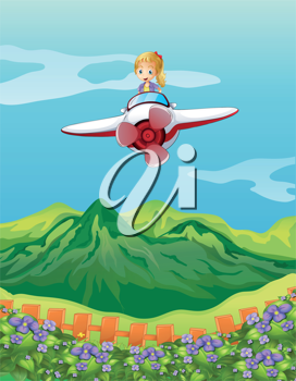 Illustration of a girl flying on a plane