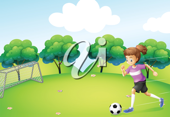 Illustration of an athletic girl playing soccer