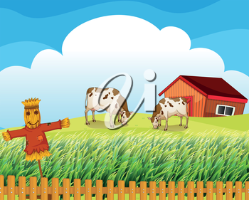 Illustration of a scarecrow with two cows inside the fence