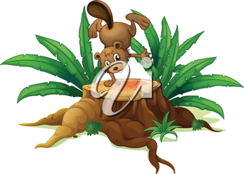 Illustration of a wood with a beaver on a white background