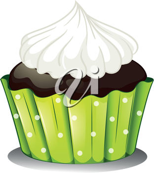 Illustration of a chocolate cupcake with an icing on a white background