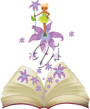 Illustration of a book with an image of a fairy and flowers on a white background