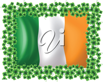 Illustration of a framed flag of Ireland on a white background