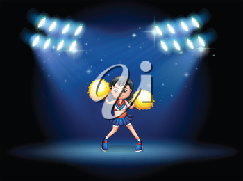 Illustration of a stage with a young cheerdancer at the center