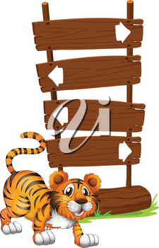 Illustration of a tiger in front of a wooden signboard on a white background