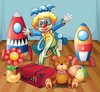 Illustration of a clown with many toys