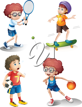 Illustration of the four boys performing different sports on a white background