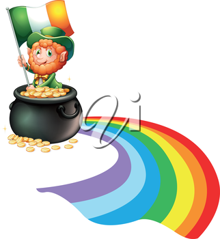 Illustration of a man inside a pot of gold coins holding flag on a white backround