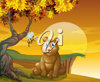 Illustration of a brown bear and a bee near the cliff